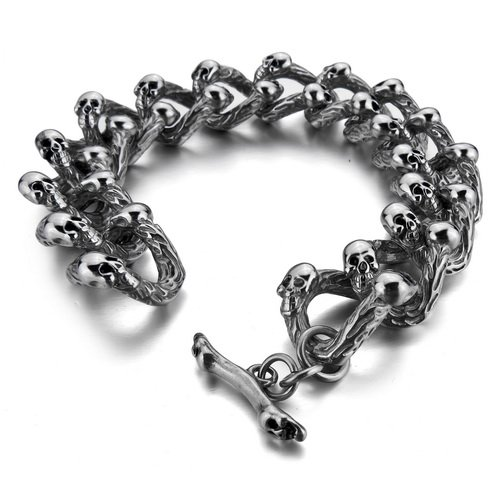 Justeel Jewellery Huge 316L Stainless Steel Bangle Bracelet Men Heavy Biker Silver Skull