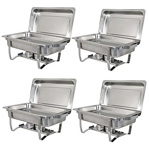 Zeny Chafer Chafering Dish 4 Pack Premier Chafers Stainless Steel 8 Qt. Capacity Quantity (#02)