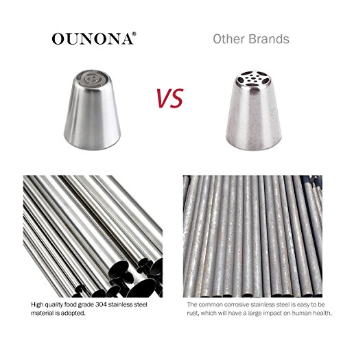 OUNONA 14pcs Russian Piping Tips Cake Decorating Tips Stainless Steel Icing Nozzles with 3 pcs 14 inch Piping Bag and 1 pcs 3-Color Coupler