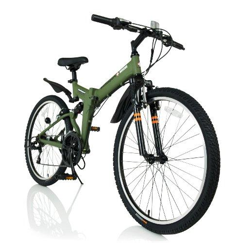 Switzsport (スウィツスポート) SEON〔ゼオン〕 アルミフレーム+フルサスペンション MTB型26インチ折りたたみ自転車 【Puncture Resistant】 シマノ18段変速  ミリタリーグリーン