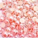 LOVEKITTY 500 pcs Pink Mixed Sizes Flat back Pearl Cabochon