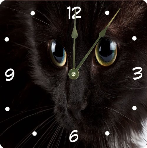 "Rikki Knighttm Black Cat Glassy Blue Eyes Design 6"" Art Desk Clock front-616535"