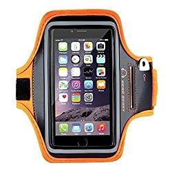 RiaTechOrange Sports Gym Jogging Armband For Samsung Note 2 and 3, Iphone 6 and 6S, HTC,Sony, Intex, LG, Microsoft And All Compatible with Cellphones 5.7 Inch
