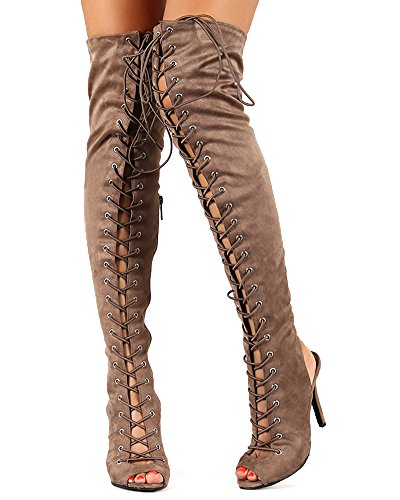 03efdec456a Breckelles BF25 Women Suede Lace Up Back Cut Out Thigh High Boot - Taupe