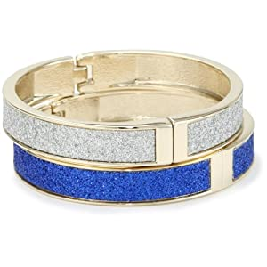 "Betsey Johnson ""Spectator"" Blue Silver Glitter Hinge Bangle Bracelet Set"