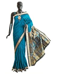Dark Cyan Bomkai Orissa Silk Saree with All-Over Boota with Border and Gorgeous Pallu - Silk