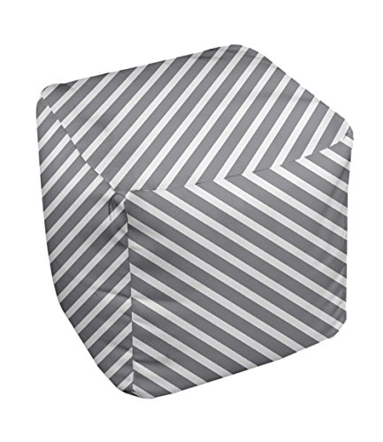E by design Stripe Pouf, 13-Inch, 2Classic Gray