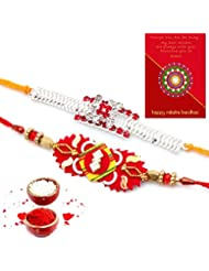 Ethnic Rakhi Fashionable And Stylish Rajasthani Colorful Floral Pattern Mauli Thread And Beads Rakhi Set Of 2...