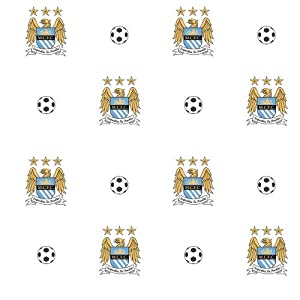 Manchester City F.C. Wallpaper- Wallpaper- width 52cm- length 10.05m- pattern Repeat 17.5- Official Football Merchandise by Wallpaper / Lighting