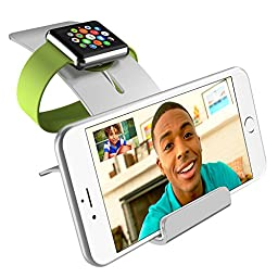 Apple Watch Dock, iPhone 6/6s Stand, iPhone SE Dock, iVAPO [Charging Dock] Aluminium Apple Watch Series 2/1/Nike+ Charging Stand, iPhone Holder with 2 Comfortable Viewing Angles (MM609) (Silver)