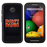 Eason Shop / Hard Slim Snap-On Case Cover Shell - Don'T Panic Red Gold Red Text Poster - For Motorola Moto E ( 1st Generation )