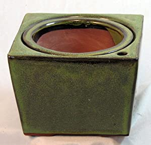 """Square Self Watering Ceramic Pot with Felt Feet - Tropical Green - 6"""" x 4 3/8"""""""