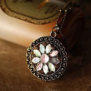 Ethnic Style Unique Exquisite Seven Color Flower Long Necklace Simple Original Special Price