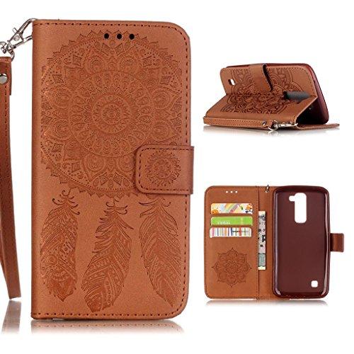 LG K7 / K8 Custodia ,YIGA 3D Puro Marrone Dreamcatcher Fiore PU Pelle Supporto Stand Cinturino Porta Carte Integrati Portafoglio Flip Cover Stile Libro Con Chiusura Magnetica per LG K7 /