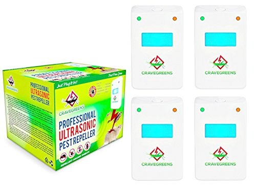 Set of 4 Cravegreens Pest Control Ultrasonic Repeller -Electronic Plug -In Repeller for Insects- Best Repellent for, Cockroach, Rodents, Flies, Roaches, Ants, Spiders, Fleas, Mice - White Color
