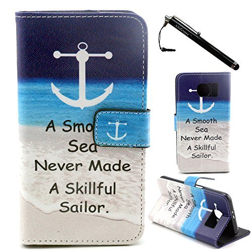 LG L90 Case, LG Optimus L90 Case, Anchor Word TPU Leather Flip Wallet Protective Soft Skin Case Magnetic Clasp Dust plug Stylus for LG L90 (Built-in Credit Card/ID Card Slot)