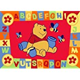 Luxury Childrens Character Winnie The Pooh ABC Red Disney Rug/Mat