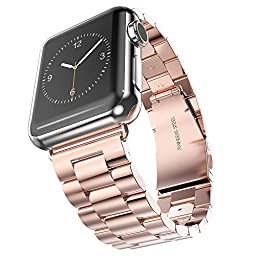 Arteck 38mm Stainless Steel Strap Wrist Metal Apple Watch Band Replacement w/ Metal Clasp for iWatch Apple Watch All Models 38mm (Rose Gold)