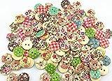 Scrapbooking Mischung aus 100 Kleine Holzknöpfen rund 15 verschiedene Motive