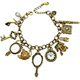 Q&Q Fashion® Vintage Fairytale Charms Cinderella Alice in Wonderland Narnia Style Chain Bangle Bracelet