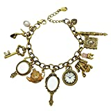 Gold Plated Q&Q Fashion Vintage Fairytale Charms Cinderella Alice in Wonderland Narnia Style Looking Glass Chain Bangle Bracelet