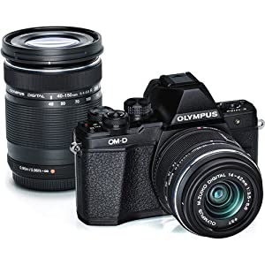 Olympus V207051BU010 OM-D E-M10 Mark II Mirrorless Micro 4/3 Digital Camera with 14-42mm and 40-150mm Lenses (Black)