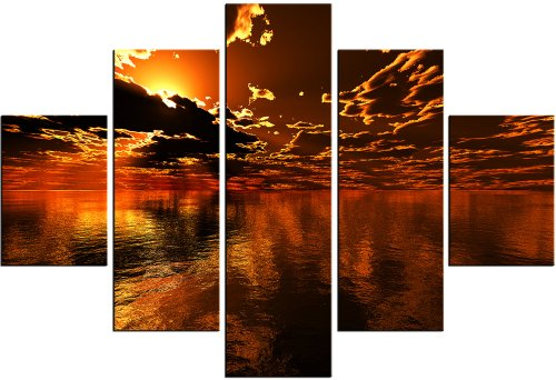 ISLES OF GOLD DIGITAL PAINTING MODERN ART CANVAS FRAMED