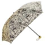 花柄UVカット折りたたみ日傘 軽量レディース晴雨兼用タイプ (ホワイト)