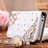 S9Q 3D Rhinestone PU Leather Flip Wallet Case Skin Bag Protector For iPhone 5 5S Loving Heart Style C