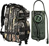 Tactical Assault Military Army Style Backpack By Monkey Paks with Hydration Water Bladder Included * Acu Camo * Black * Tan * Water Resistant Rucksack * Molle Compatatible * Great for Bug Out Bag or Daypack * 600 D Nylon Multiple Zippered Pockets to Keep All Your Stuff Organized (Mossy Oak Camo)