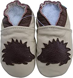 Carozoo unisex baby soft sole leather infant toddler kids shoes Hedgehog Cream 6-12m