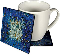 Angelstar 19047 Handmade and Hand-Painted Glass Blue Ocean Coasters 4-Inch Set of 4