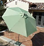 9ft aluminum market umbrella with Crank & Tilt - Sage Green