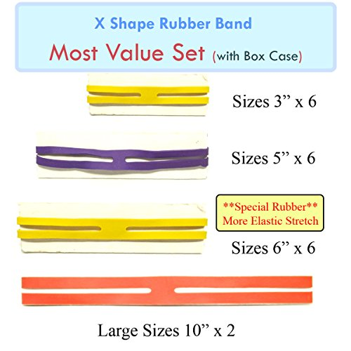MOF X Rubber Bands X Shaped Rubber Bands H Bands 'MOST Value Set' 20 pcs Rubber X Band in Plastic Case Easy to Use (Crock Tooth Necklace compare prices)