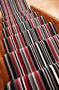 Lima 459 Black Grey Red Modern Striped Stair Carpet Runner Rug SOLD BY THE METRE by The Rug House