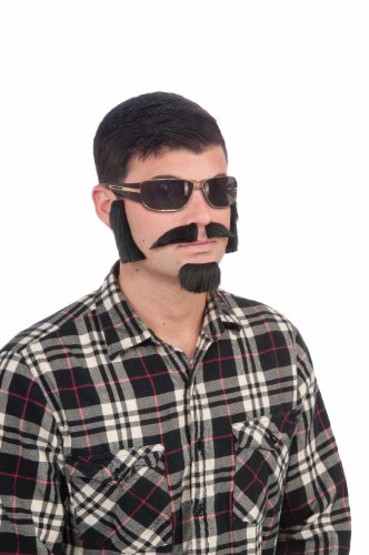 Brown Facial Hair Costume Kit With Sideburns, Mustache, And Goatee