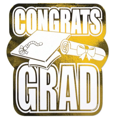 Printed Foil Congrats Grad Cutout (gold) Party Accessory  (1 count)