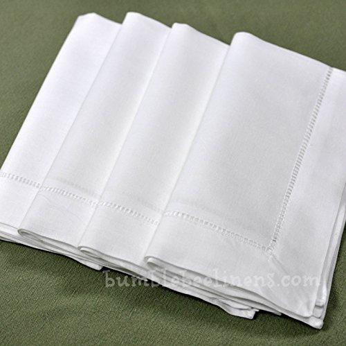 "22"" X 22"" White Linen Hemstitched Dinner Napkins Set of 4 Large Linen Hem Stitch Luxury Cloth Napkin"