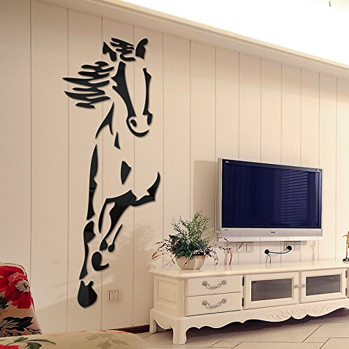 Cavallo cinese adesivo parete soggiorno sala da pranzo decorazione murale acrilica adesivi 3D stereo acrilico Wall stickers,Giallo,poco