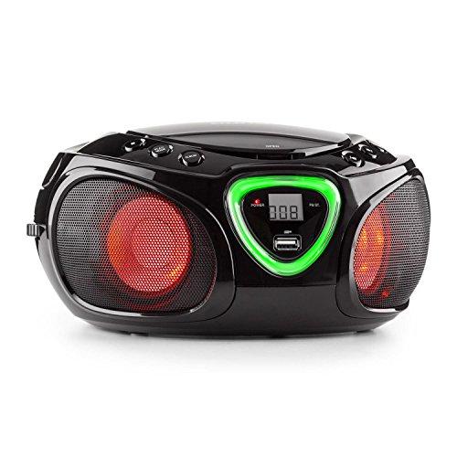 auna-Roadie-Boombox-mobiler-CD-MP3-Player-mit-USB-Anschluss-Stereolautsprecher-Kchenradio-Bluetooth-21-LED-Beleuchtung-mit-Rhythmussteuerung-UKW-Radio-AUX-Batteriebetrieb-Tragegriff-schwarz