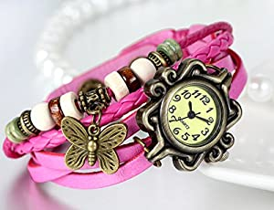 JewelryWe Butterfly Pendant Quartz Vintage Weave Wrap Pink Leather Strap Bracelet Watch Lady Women's Wristwatch by JewelryWe