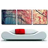 Gardenia Art - Red Maples Canvas Prints Wall Art Stretched and Framed Modern Decor Paintings Giclee Artwork for Living Room and Bedroom, 16x16 in, 3 pcs\set