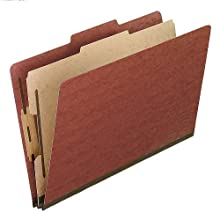 Pendaflex 2157R Pendaflex Pressboard Classification Folders, Legal, 4-Section, Red, 10/Box