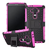 LG G4 Case, Sophia Shop Heavy Duty Tough Rugged Dual Layer Case with Built-in Kickstand, TANK Series Slim Fit Dual Layer Hybrid Armor Protective Case Cover for LG G4 ToughBox Carrier Compatibility AT&T, Verizon, T-Mobile, Sprint, And All International Carriers (Hot Pink)
