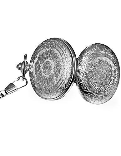 Mudder Vintage Silver Stainless Steel Quartz Pocket Watch Chain 4
