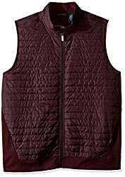 Perry Ellis Men's Big and Tall Quilted Mix Media Zip Vest, Port, Tall/Large