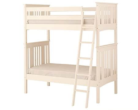 Canwood Base Camp Twin over Twin Bunk Bed with Angled Ladder/Guard Rail, White