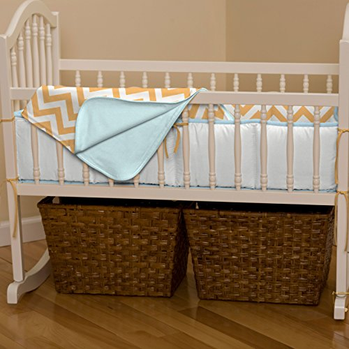 Light Orange And Aqua Chevron Cradle Blanket front-339559