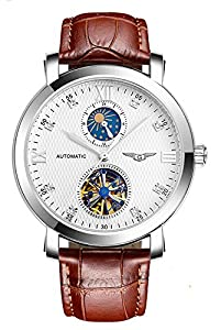 Fanmis Business Waterproof Moon Phase Automatic Mechanical Men Watch Brown Leather Strap Silver
