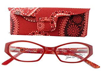 Vera Bradley 3009 Red Crème Reading Glasses w/ Matching Case in 3.00